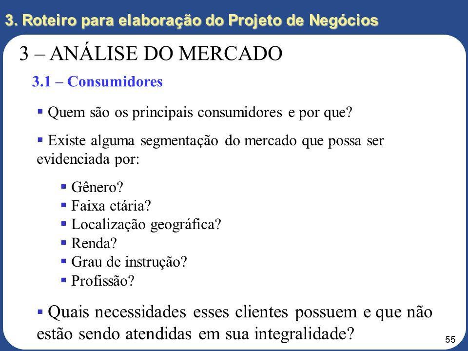 54 3. Roteiro para elaboração do Projeto de Negócios 3 – ANÁLISE DO MERCADO 3.1 – Consumidores 3.2 – Produto e Preço 3.3 – Evolução do Mercado 3.4 – C