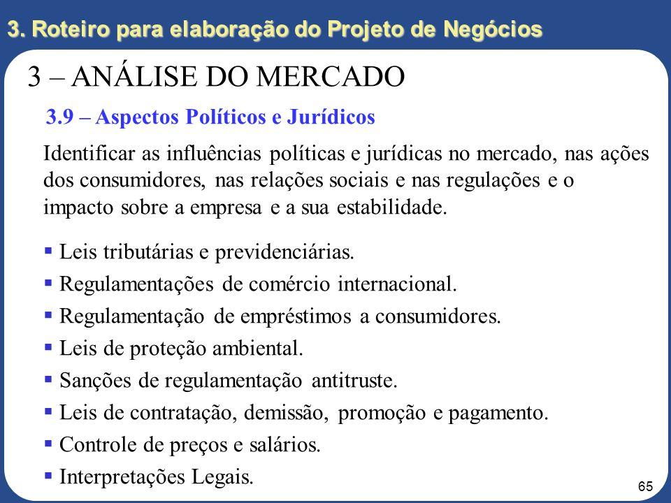 64 3. Roteiro para elaboração do Projeto de Negócios 3 – ANÁLISE DO MERCADO 3.8 – Aspectos Econômicos Identificar as influências econômicas sobre o me