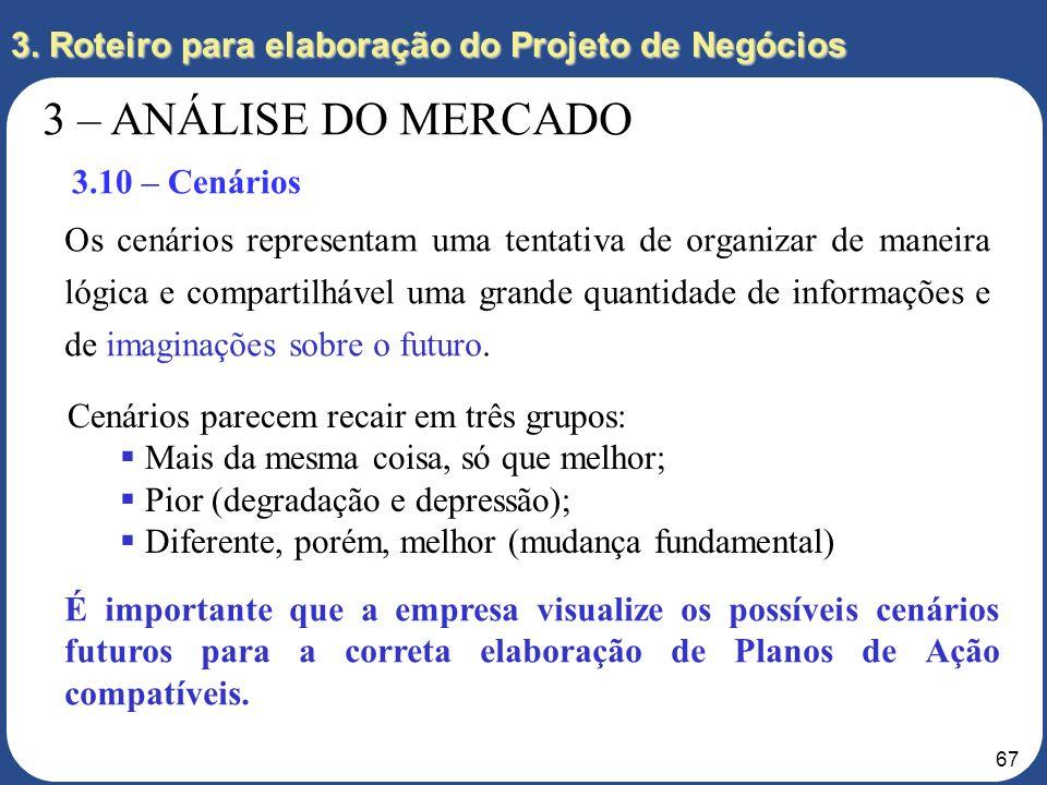 66 3. Roteiro para elaboração do Projeto de Negócios 3 – ANÁLISE DO MERCADO 3.10 – Cenários Independentemente do porte da empresa, todas estão vulnerá