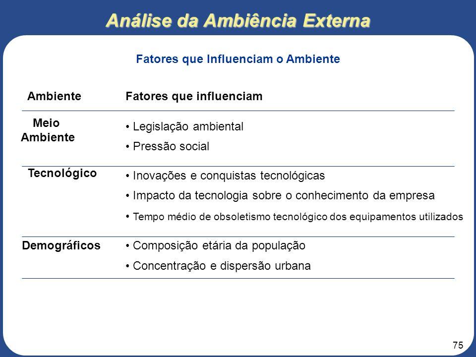 74 Análise da Ambiência Externa Fatores que Influenciam o Ambiente AmbienteFatores que influenciam Econômico Padrões de gastos Ciclos de negócios (pro