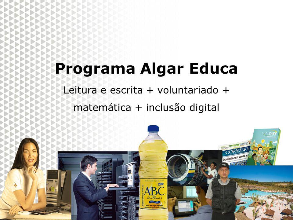 Reunião Gerencial, 20/05/2008 Programa Algar Educa 2010 Programa Algar Educa Leitura e escrita + voluntariado + matemática + inclusão digital