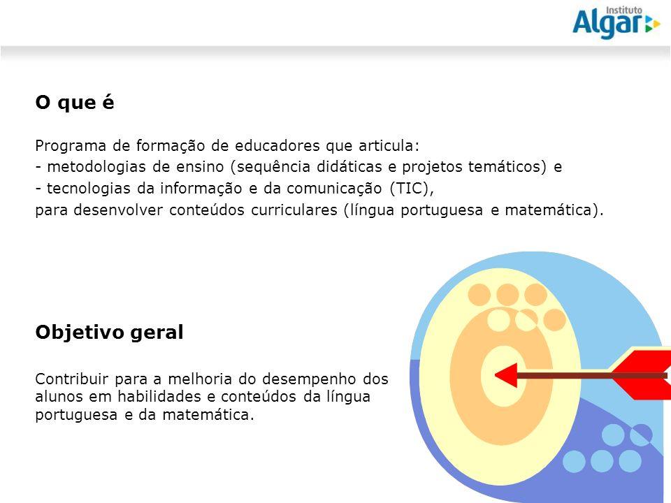 Reunião Gerencial, 20/05/2008 Programa Algar Educa 2010 O que é Programa de formação de educadores que articula: - metodologias de ensino (sequência didáticas e projetos temáticos) e - tecnologias da informação e da comunicação (TIC), para desenvolver conteúdos curriculares (língua portuguesa e matemática).