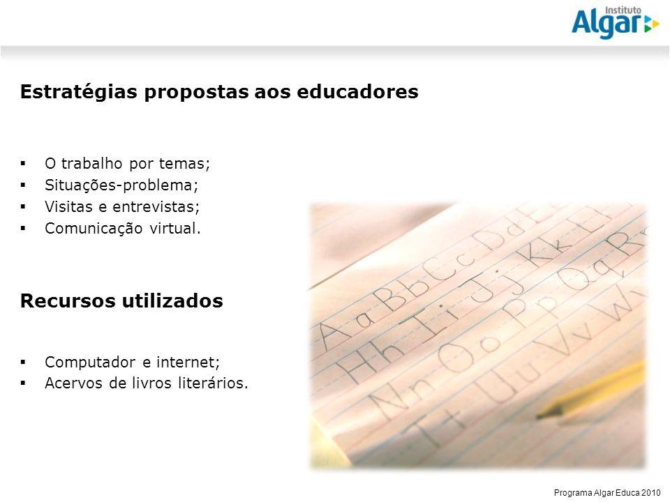 Reunião Gerencial, 20/05/2008 Programa Algar Educa 2010 Estratégias propostas aos educadores O trabalho por temas; Situações-problema; Visitas e entrevistas; Comunicação virtual.