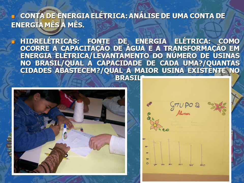 n CONTA DE ENERGIA ELÉTRICA: ANÁLISE DE UMA CONTA DE ENERGIA MÊS A MÊS. n HIDRELÉTRICAS: FONTE DE ENERGIA ELÉTRICA: COMO OCORRE A CAPACITAÇÃO DE ÁGUA