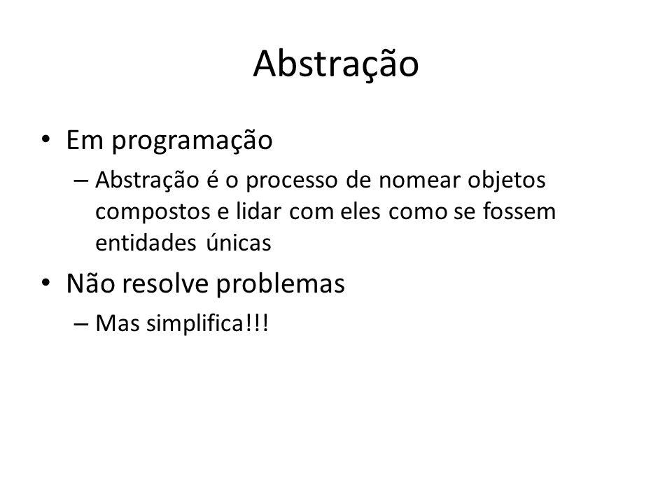 Abstração Em programação – Abstração é o processo de nomear objetos compostos e lidar com eles como se fossem entidades únicas Não resolve problemas –
