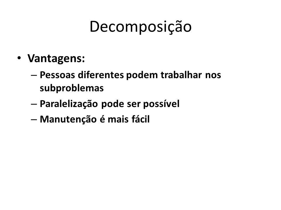 Decomposição Vantagens: – Pessoas diferentes podem trabalhar nos subproblemas – Paralelização pode ser possível – Manutenção é mais fácil