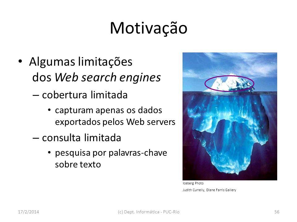 17/2/2014(c) Dept. Informática - PUC-Rio56 Motivação Algumas limitações dos Web search engines – cobertura limitada capturam apenas os dados exportado