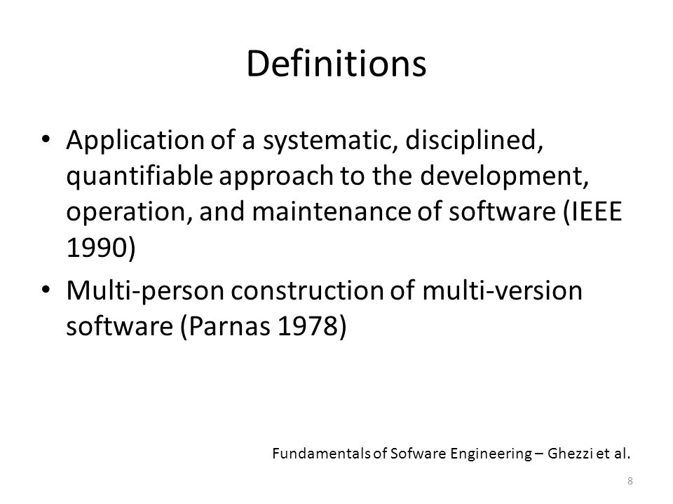Ch.19 Role of SE in system design SE part of larger projects Embedded – Software requirements to be balanced against others e.g., telephone switching systems – certain requirements can only be met by hw, sw, and special devices Fundamentals of Sofware Engineering – Ghezzi et al.