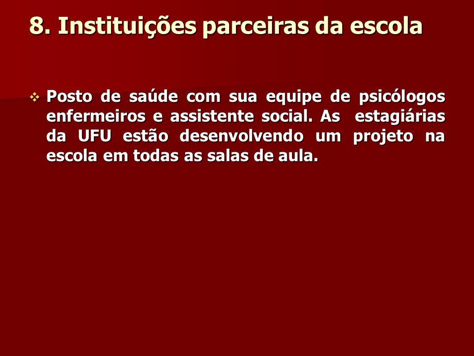 8. Instituições parceiras da escola Posto de saúde com sua equipe de psicólogos enfermeiros e assistente social. As estagiárias da UFU estão desenvolv