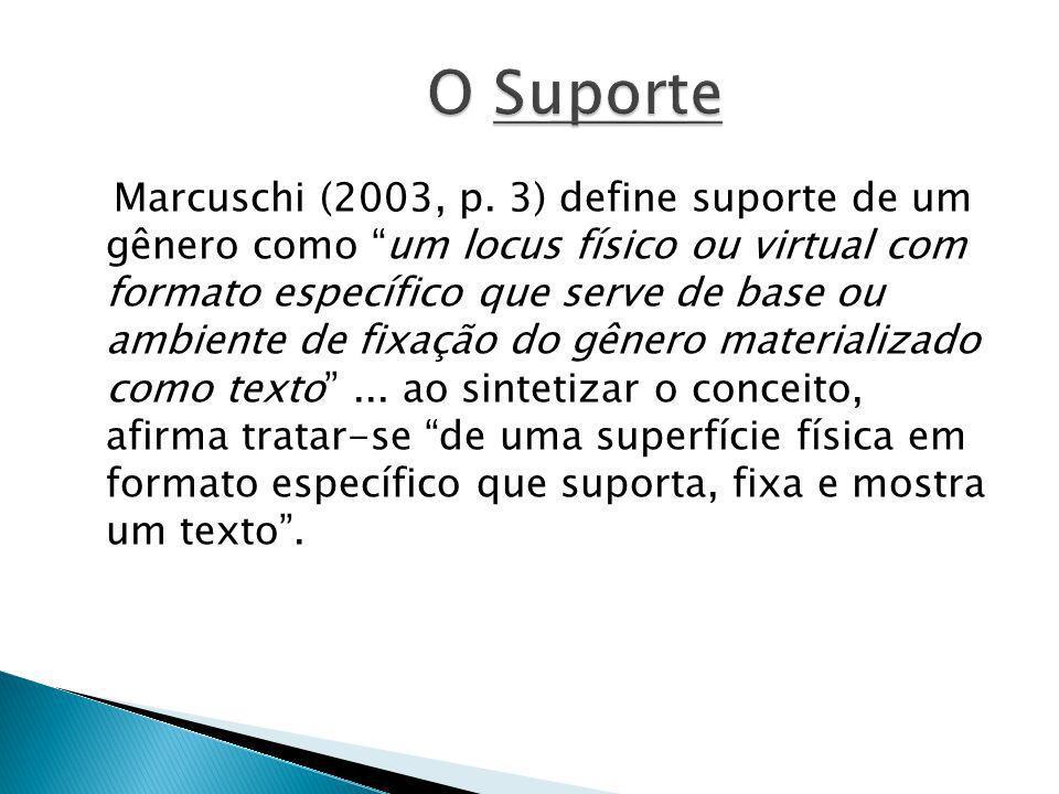 Marcuschi (2003, p. 3) define suporte de um gênero como um locus físico ou virtual com formato específico que serve de base ou ambiente de fixação do