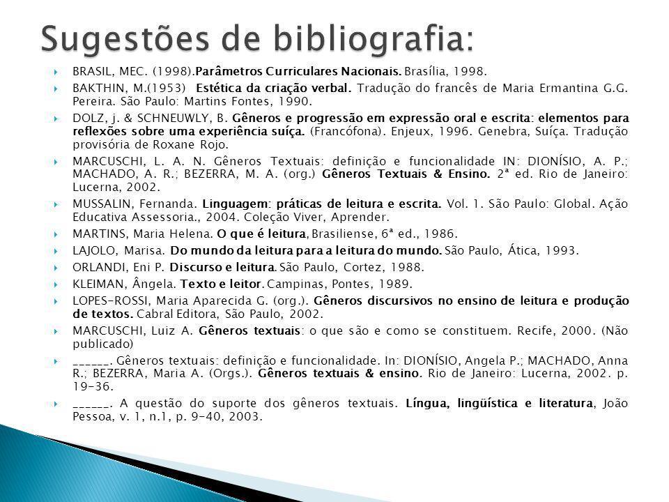 BRASIL, MEC. (1998).Parâmetros Curriculares Nacionais. Brasília, 1998. BAKTHIN, M.(1953) Estética da criação verbal. Tradução do francês de Maria Erma
