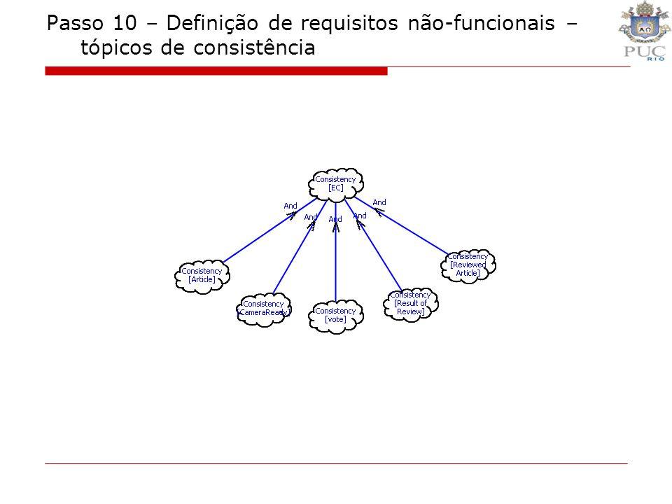 Passo 10 – Definição de requisitos não-funcionais – tópicos de consistência