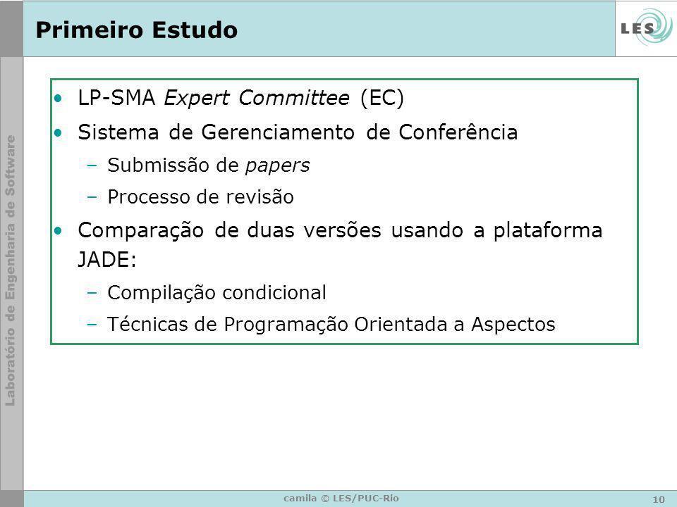 10 camila © LES/PUC-Rio Primeiro Estudo LP-SMA Expert Committee (EC) Sistema de Gerenciamento de Conferência –Submissão de papers –Processo de revisão