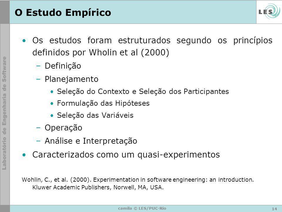 14 camila © LES/PUC-Rio O Estudo Empírico Os estudos foram estruturados segundo os princípios definidos por Wholin et al (2000) –Definição –Planejamen