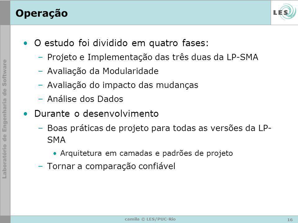 16 camila © LES/PUC-Rio Operação O estudo foi dividido em quatro fases: –Projeto e Implementação das três duas da LP-SMA –Avaliação da Modularidade –A