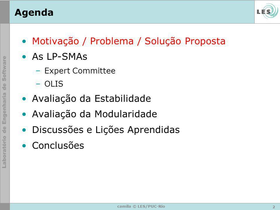 2 camila © LES/PUC-Rio Agenda Motivação / Problema / Solução Proposta As LP-SMAs –Expert Committee –OLIS Avaliação da Estabilidade Avaliação da Modula