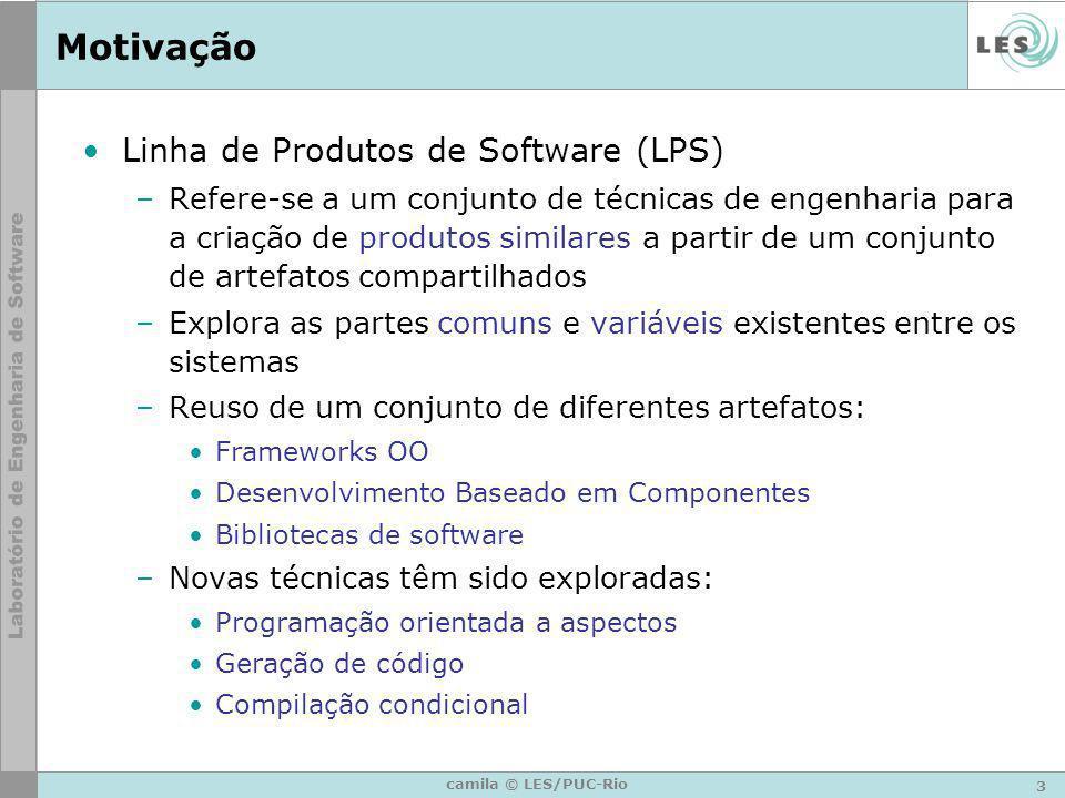 3 camila © LES/PUC-Rio Motivação Linha de Produtos de Software (LPS) –Refere-se a um conjunto de técnicas de engenharia para a criação de produtos sim