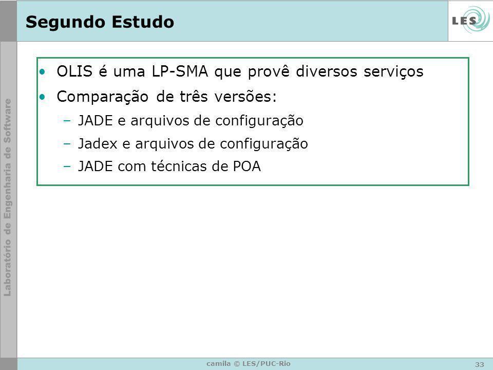 33 camila © LES/PUC-Rio Segundo Estudo OLIS é uma LP-SMA que provê diversos serviços Comparação de três versões: –JADE e arquivos de configuração –Jad