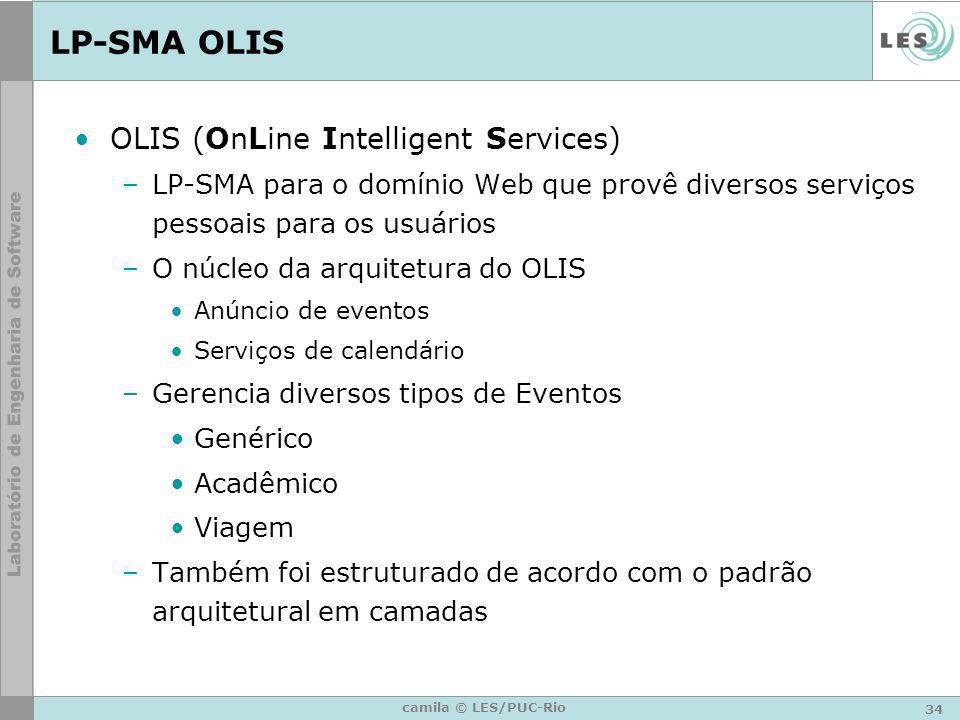 34 camila © LES/PUC-Rio LP-SMA OLIS OLIS (OnLine Intelligent Services) –LP-SMA para o domínio Web que provê diversos serviços pessoais para os usuário