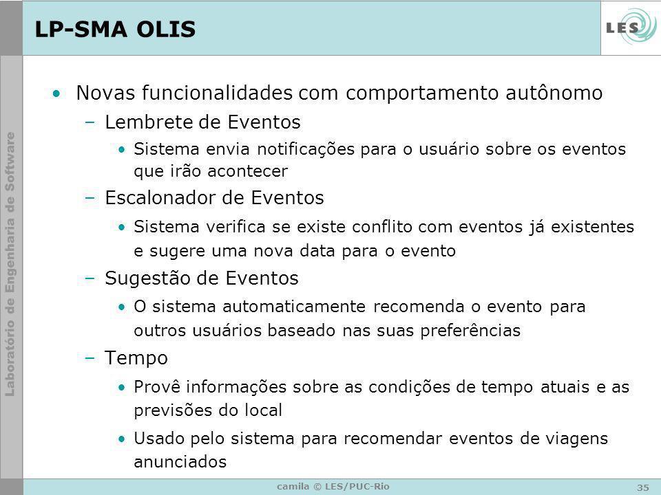 35 camila © LES/PUC-Rio LP-SMA OLIS Novas funcionalidades com comportamento autônomo –Lembrete de Eventos Sistema envia notificações para o usuário so