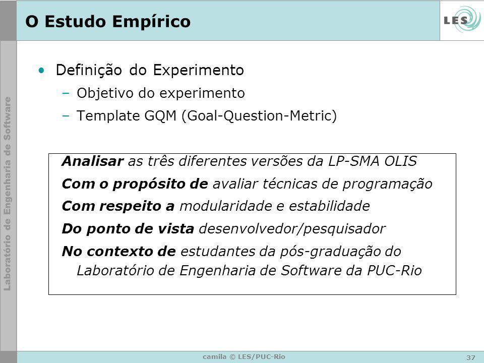 37 camila © LES/PUC-Rio O Estudo Empírico Definição do Experimento –Objetivo do experimento –Template GQM (Goal-Question-Metric) Analisar as três dife