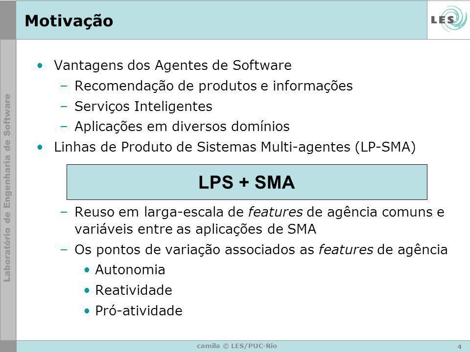 4 camila © LES/PUC-Rio Motivação Vantagens dos Agentes de Software –Recomendação de produtos e informações –Serviços Inteligentes –Aplicações em diver