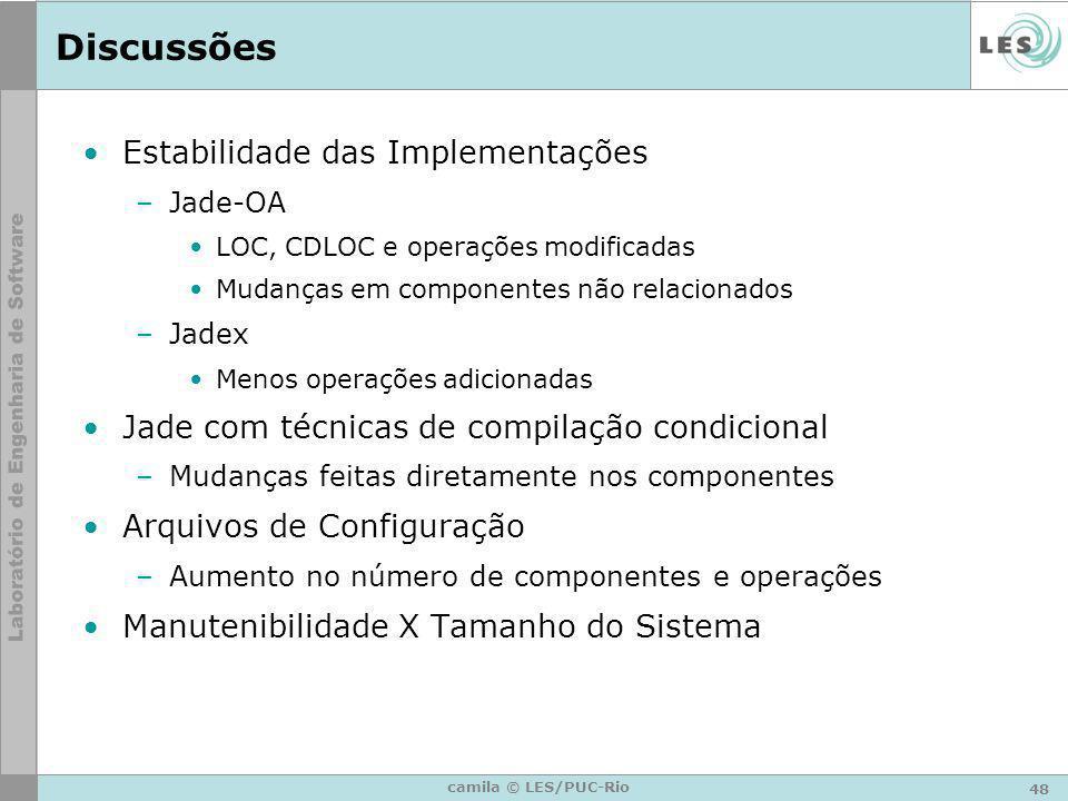 48 camila © LES/PUC-Rio Discussões Estabilidade das Implementações –Jade-OA LOC, CDLOC e operações modificadas Mudanças em componentes não relacionado