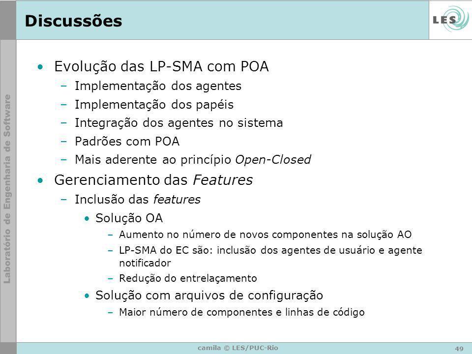 49 camila © LES/PUC-Rio Discussões Evolução das LP-SMA com POA –Implementação dos agentes –Implementação dos papéis –Integração dos agentes no sistema