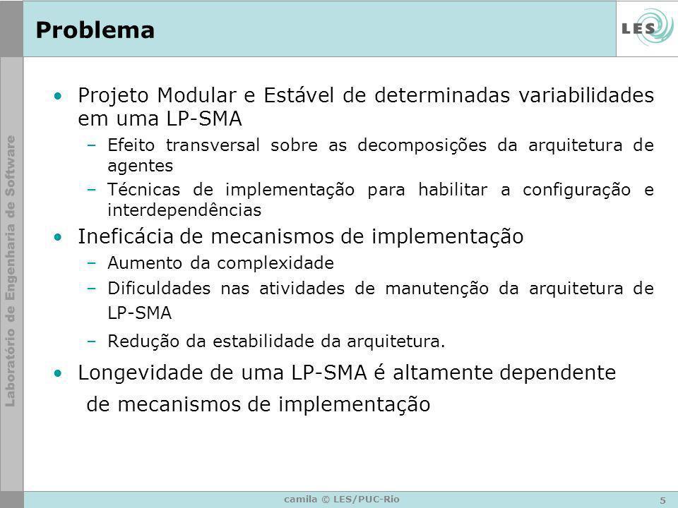 5 camila © LES/PUC-Rio Problema Projeto Modular e Estável de determinadas variabilidades em uma LP-SMA –Efeito transversal sobre as decomposições da a