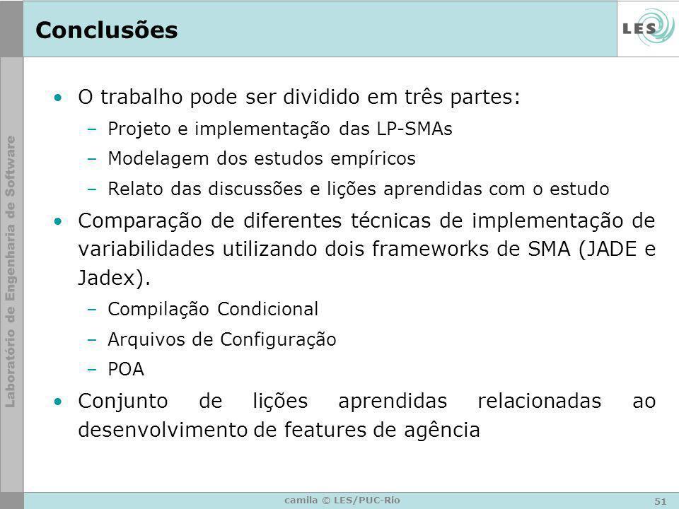 51 camila © LES/PUC-Rio Conclusões O trabalho pode ser dividido em três partes: –Projeto e implementação das LP-SMAs –Modelagem dos estudos empíricos