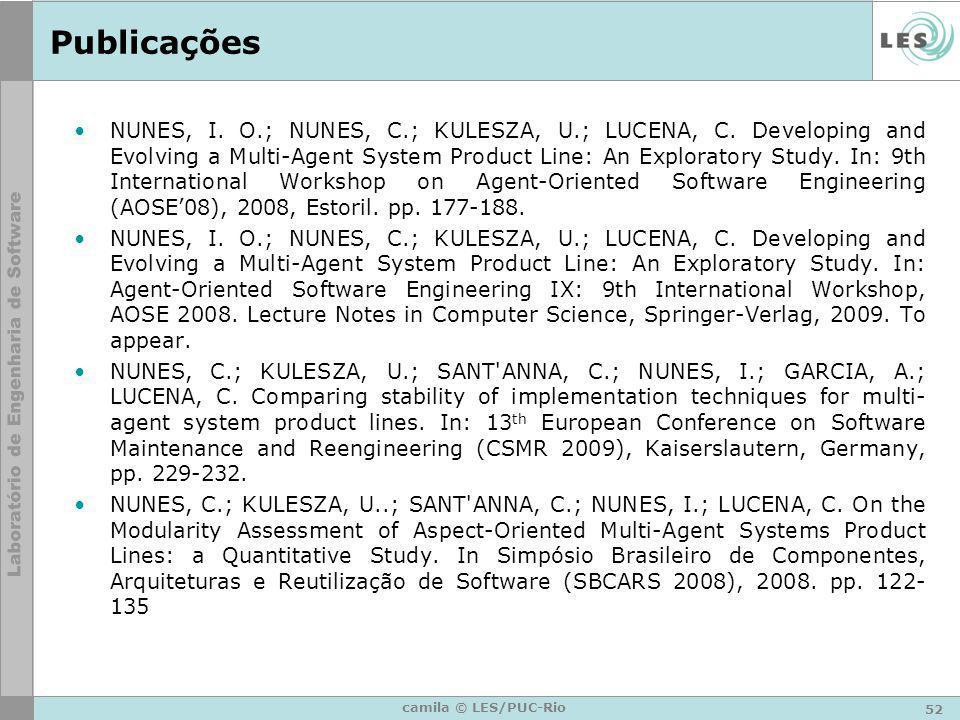 52 camila © LES/PUC-Rio Publicações NUNES, I. O.; NUNES, C.; KULESZA, U.; LUCENA, C. Developing and Evolving a Multi-Agent System Product Line: An Exp