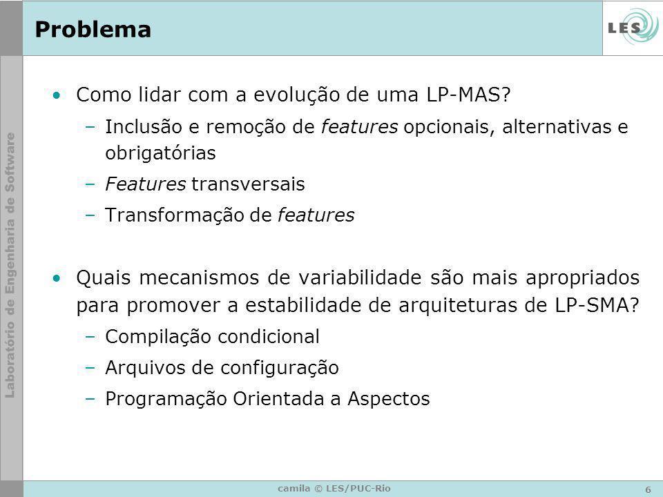 6 camila © LES/PUC-Rio Problema Como lidar com a evolução de uma LP-MAS? –Inclusão e remoção de features opcionais, alternativas e obrigatórias –Featu