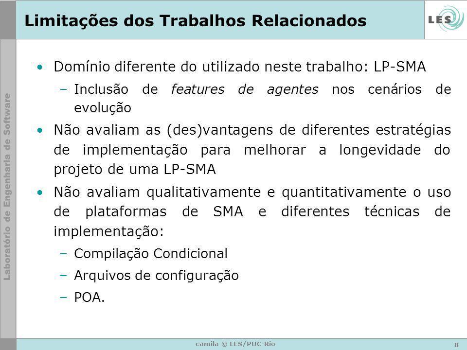 8 camila © LES/PUC-Rio Limitações dos Trabalhos Relacionados Domínio diferente do utilizado neste trabalho: LP-SMA –Inclusão de features de agentes no