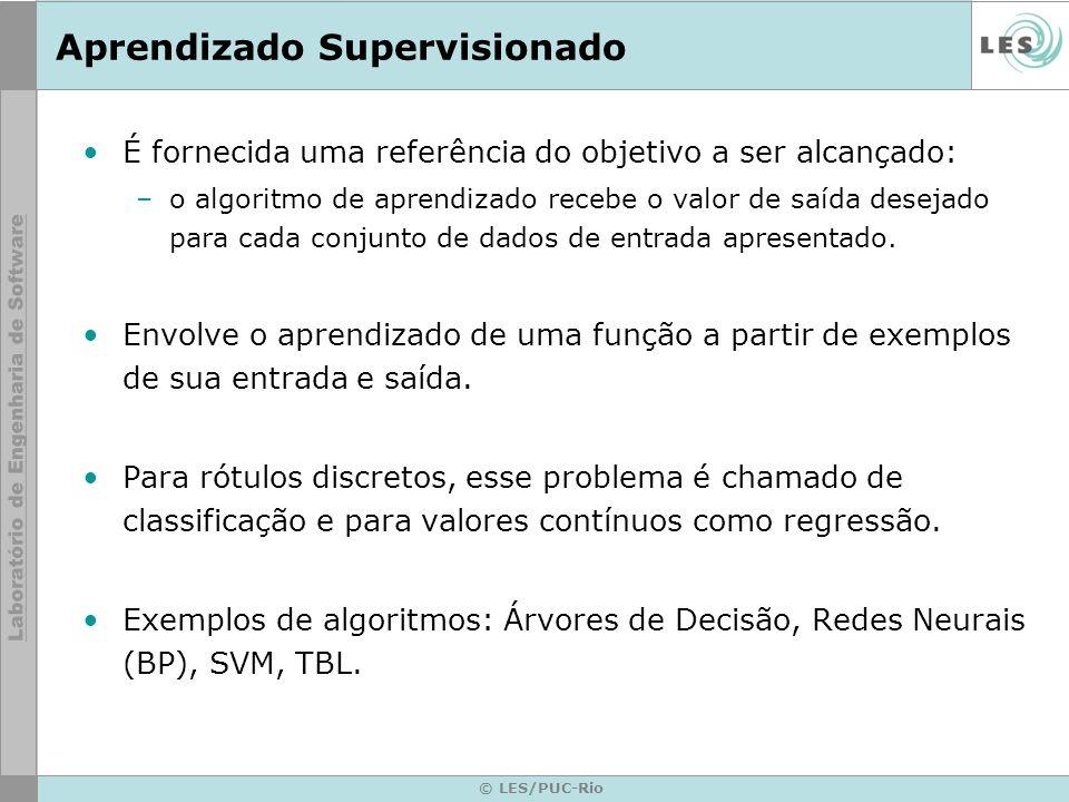 Vetor de entrada Aprendizado Supervisionado © LES/PUC-Rio Algoritmo de Aprendizado Saída calculada Saída desejada Erro