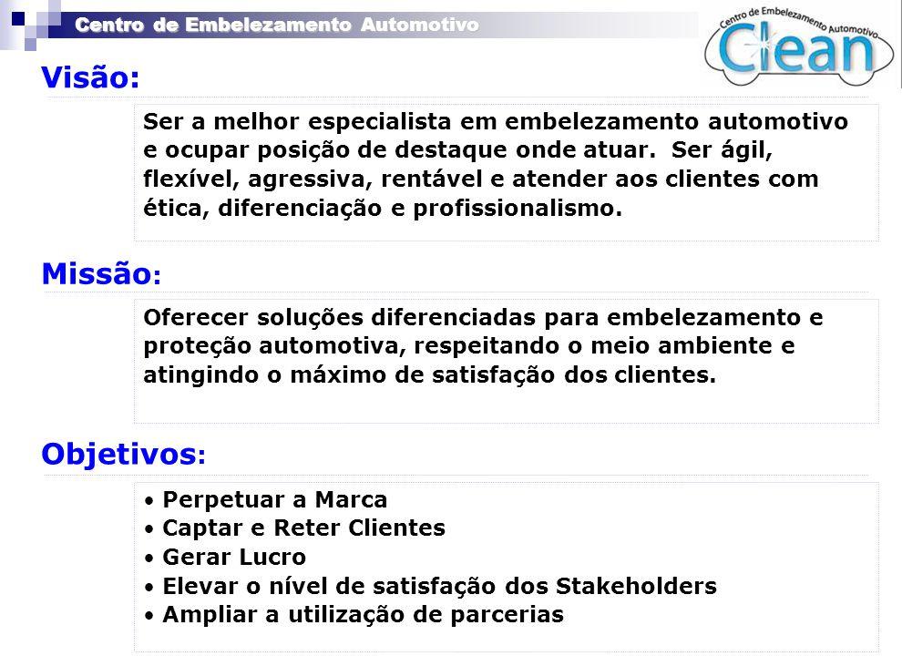Centro de Embelezamento Automotivo Visão: Missão : Objetivos : Ser a melhor especialista em embelezamento automotivo e ocupar posição de destaque onde
