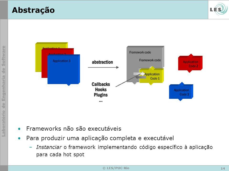 14 © LES/PUC-Rio Abstração Frameworks não são executáveis Para produzir uma aplicação completa e executável –Instanciar o framework implementando códi