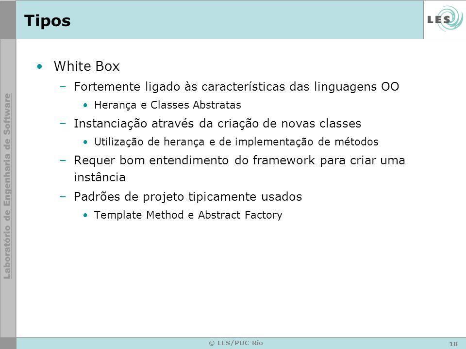 18 © LES/PUC-Rio Tipos White Box –Fortemente ligado às características das linguagens OO Herança e Classes Abstratas –Instanciação através da criação