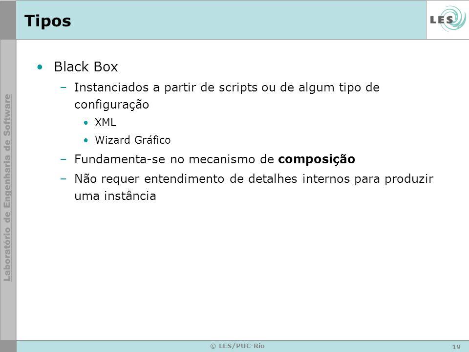 19 © LES/PUC-Rio Tipos Black Box –Instanciados a partir de scripts ou de algum tipo de configuração XML Wizard Gráfico –Fundamenta-se no mecanismo de