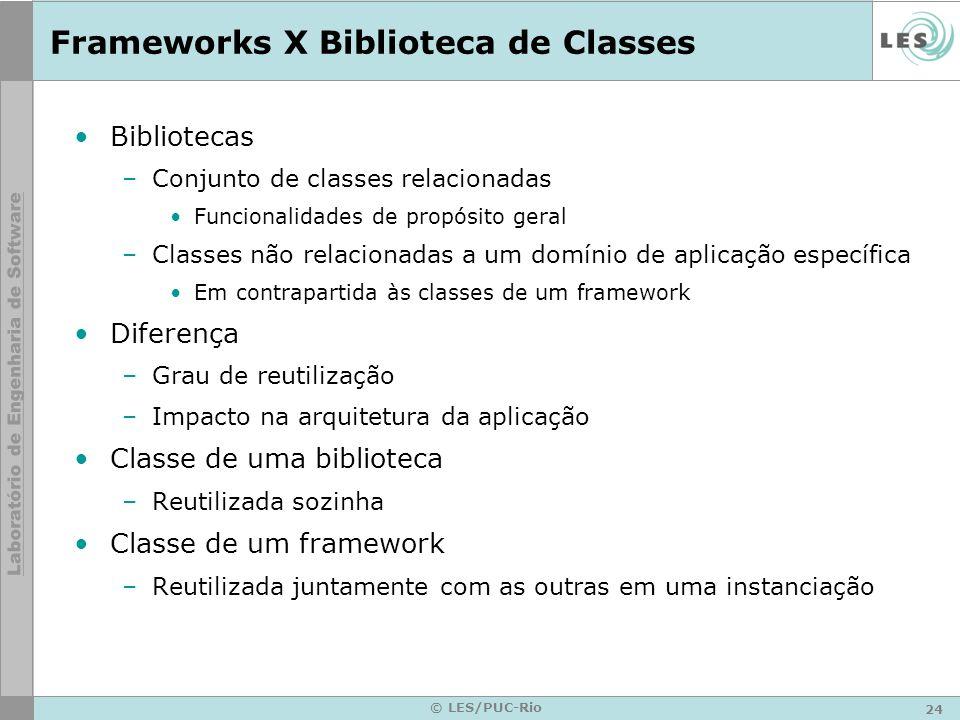 24 © LES/PUC-Rio Frameworks X Biblioteca de Classes Bibliotecas –Conjunto de classes relacionadas Funcionalidades de propósito geral –Classes não rela