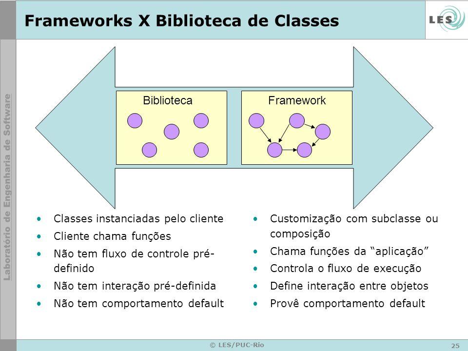 25 © LES/PUC-Rio Frameworks X Biblioteca de Classes Classes instanciadas pelo cliente Cliente chama funções Não tem fluxo de controle pré- definido Nã