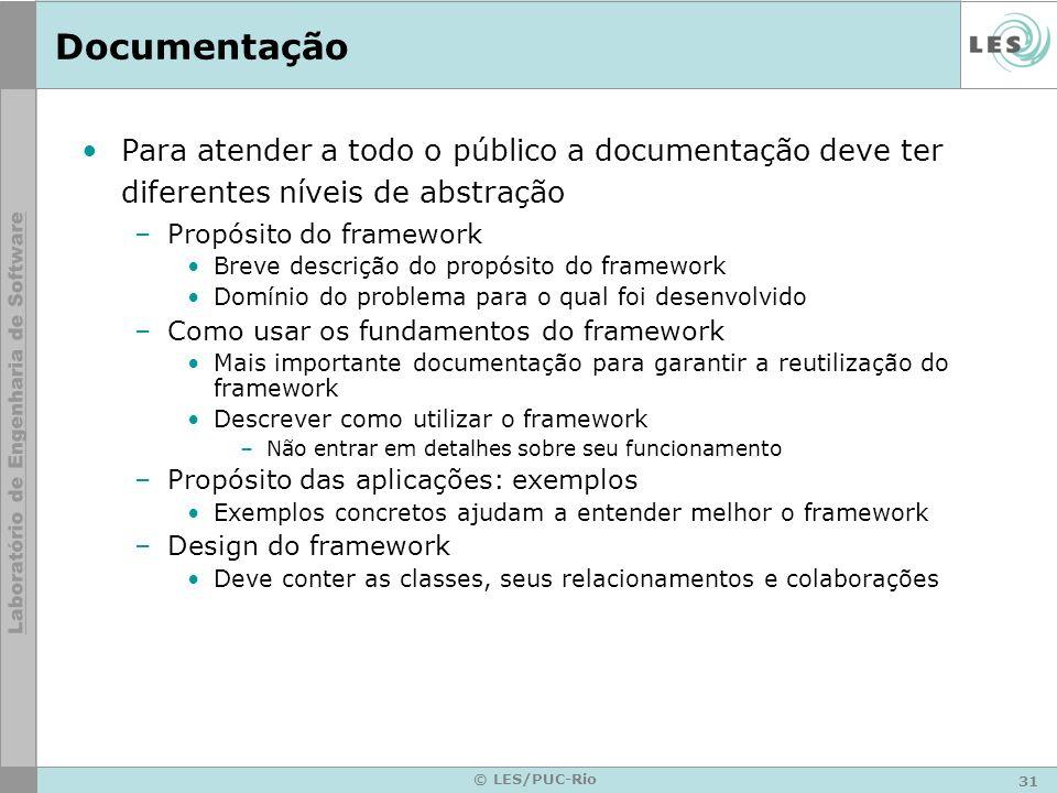 31 © LES/PUC-Rio Documentação Para atender a todo o público a documentação deve ter diferentes níveis de abstração –Propósito do framework Breve descr