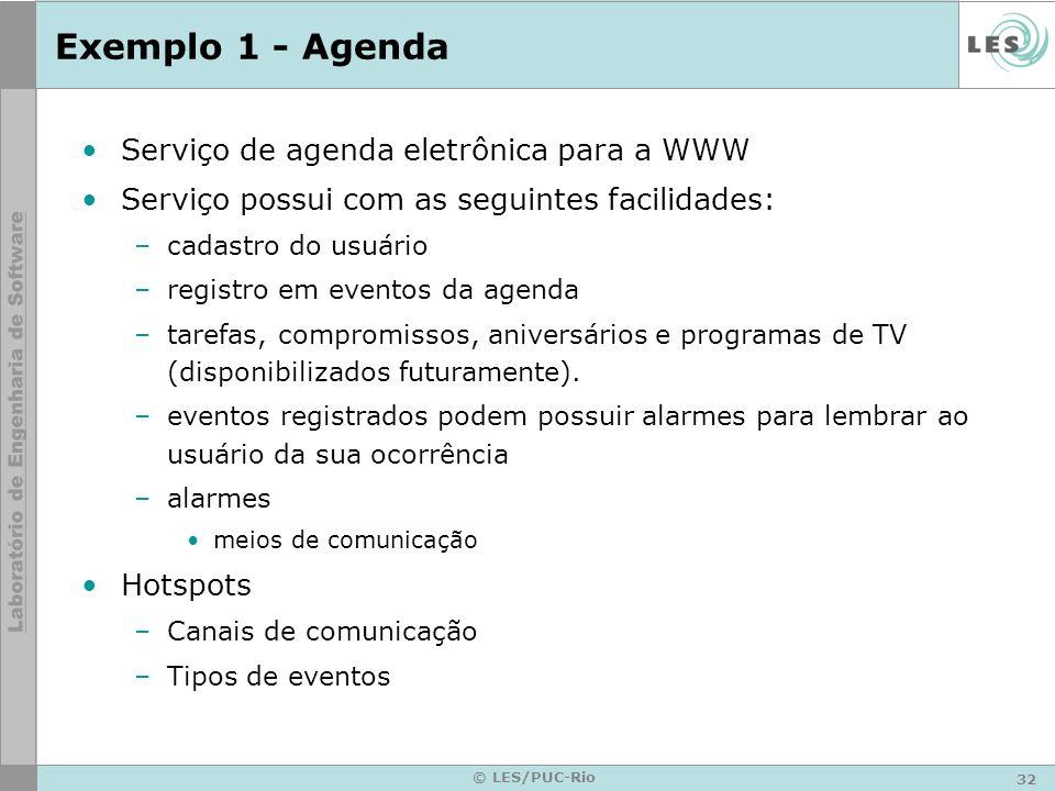 32 © LES/PUC-Rio Exemplo 1 - Agenda Serviço de agenda eletrônica para a WWW Serviço possui com as seguintes facilidades: –cadastro do usuário –registr