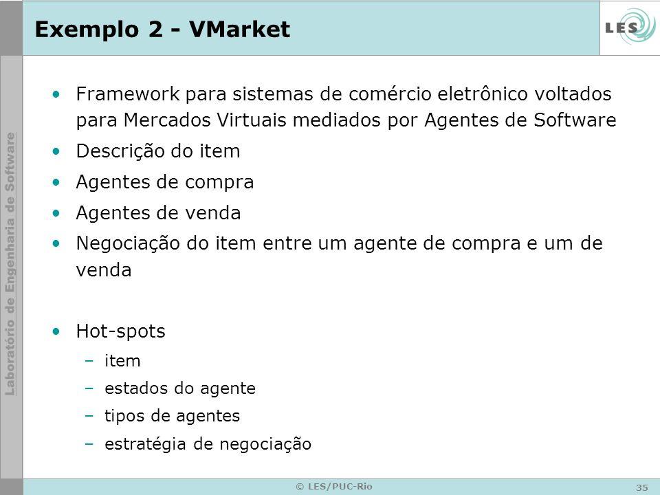 35 © LES/PUC-Rio Exemplo 2 - VMarket Framework para sistemas de comércio eletrônico voltados para Mercados Virtuais mediados por Agentes de Software D