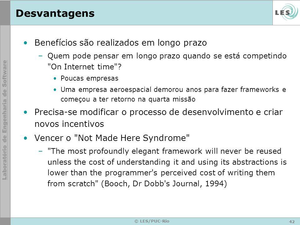 42 © LES/PUC-Rio Desvantagens Benefícios são realizados em longo prazo –Quem pode pensar em longo prazo quando se está competindo