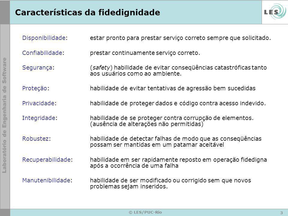 3 © LES/PUC-Rio Características da fidedignidade Disponibilidade:estar pronto para prestar serviço correto sempre que solicitado.
