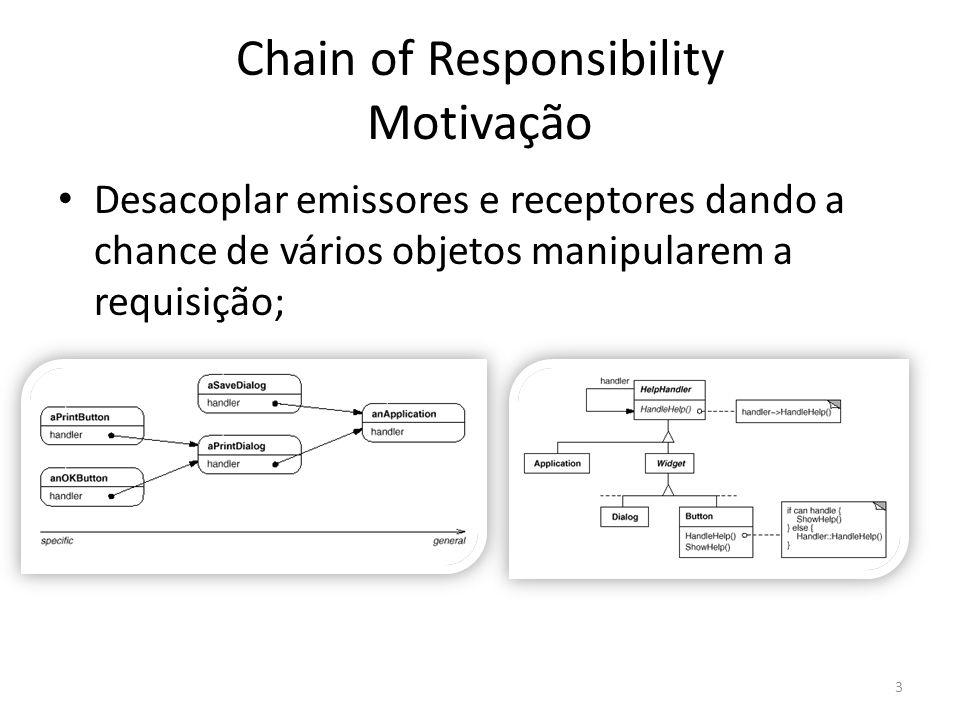 Chain of Responsibility Aplicação Mais de um objeto (desconhecido pelo emissor) pode tratar uma solicitação; Alguém que fazer um pedido para dentre vários objetos sem especificá-lo.