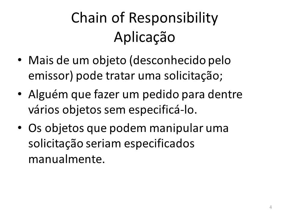 Chain of Responsibility Aplicação Mais de um objeto (desconhecido pelo emissor) pode tratar uma solicitação; Alguém que fazer um pedido para dentre vá