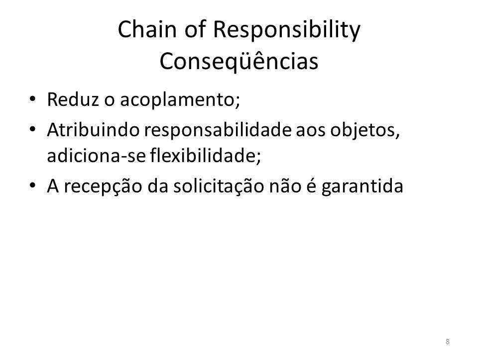 Chain of Responsibility Conseqüências Reduz o acoplamento; Atribuindo responsabilidade aos objetos, adiciona-se flexibilidade; A recepção da solicitaç