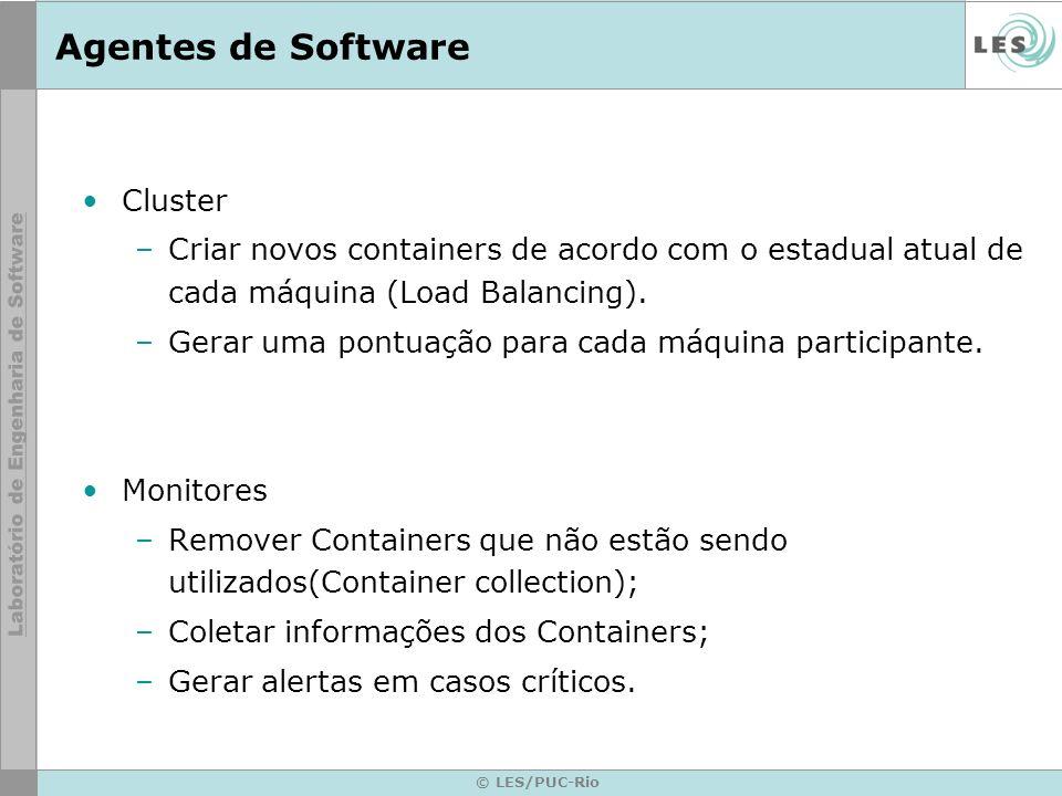 Agentes de Software Cluster –Criar novos containers de acordo com o estadual atual de cada máquina (Load Balancing). –Gerar uma pontuação para cada má