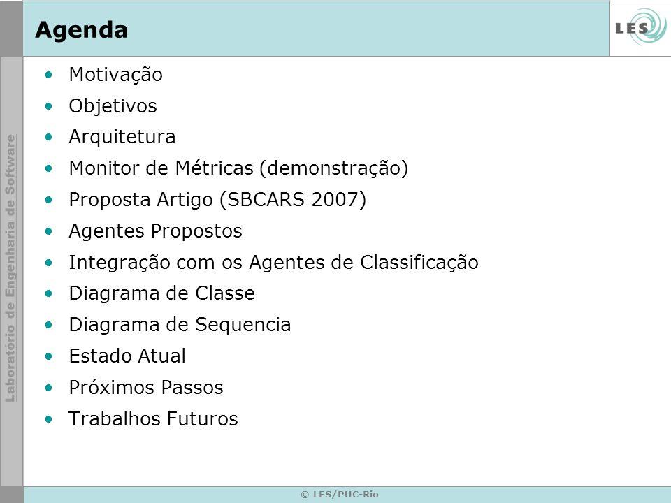 © LES/PUC-Rio Agenda Motivação Objetivos Arquitetura Monitor de Métricas (demonstração) Proposta Artigo (SBCARS 2007) Agentes Propostos Integração com